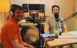 Michael Eisenberg of Aleph VC, left, and Bradley Tusk, the founder and CEO of Tusk Holdings, during the recording of the Firewall Special Israel Edition podcast (Courtesy)