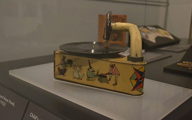 Child's record player given to neighbor of Otto Frank on the occasion of Anne Frank's birth in Frankfurt, Germany, on display at New York City's Museum of Jewish Heritage through December 2019 (Anne Frank House Collection)