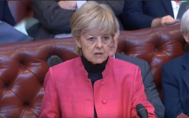 Baroness Hayter addresses the House of Lords during a debate on the European Union Withdrawal Bill at the UK Parliament on April 4, 2019. (screen capture: YouTube)