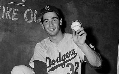 Sandy Koufax shown after striking out 14 batters in a game in 1955. (Bettmann/Getty Images)