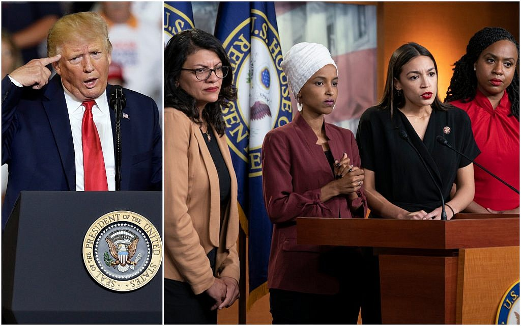 (L) US President Donald Trump speaks at a campaign rally in Greenville, North Carolina on July 17, 2019. (AP/Gerry Broome) (R) From left, Rep. Rashida Tlaib,, Rep. Ilhan Omar, Rep. Alexandria Ocasio-Cortez, and Rep. Ayanna Pressley speak at a press conference in Washington on July 15, 2019. (AP Photo/J. Scott Applewhite)