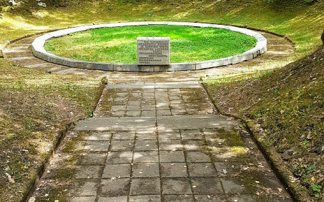 One of several pits in which the Nazis and their local collaborators shot and killed tens of thousands of Jews during the Holocaust in Ponary, outside of Vilnius, Lithuania, July 2019 (Raphael Ahren/TOI)