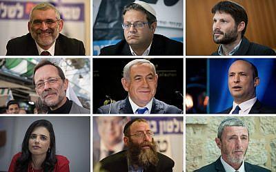 Top row L-R: Michael Ben Ari, Itamar Ben-Gvir, Bezalel Smotrich. Middle row L-R: Moshe Feiglin, Benjamin Netanyahu, Naftali Bennett. Bottom row L-R: Ayelet Shaked, Baruch Marzel, Rafi Peretz. (Flash90)