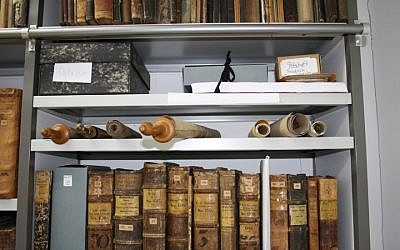Torah scrolls sat on a dusty shelf in an office in the Martinus Library in Mainz for some 50 years. (Courtesy of Martinus Library via JTA)