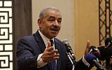 Palestinian Authority Prime Minister Mohammad Shtayyeh speaking at a meeting of Socialist International in Ramallah on July 30, 2019. (Credit: Wafa)