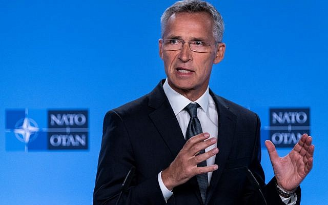 NATO Secretary General Jens Stoltenberg gestures as he delivers a speech during a press conference about the end of the Intermediate-Range Nuclear Forces (INF) treaty at the North Atlantic Treaty Organization (NATO) headquarters, in Brussels, on August 2, 2019 (Kenzo TRIBOUILLARD / AFP)