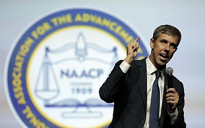 In this photo from July 24, 2019, Democratic presidential hopeful Beto O'Rourke addresses the Presidential Forum at the NAACP's 110th National Convention at Cobo Center in Detroit, Michigan. (Jeff Kowalsky/AFP)