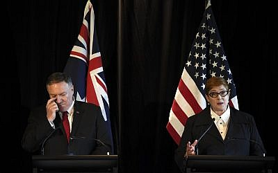 Australia's Foreign Minister Marise Payne (R) attends a joint press conference with US Secretary of State Mike Pompeo (L), US Secretary of Defense Mark Esper and Australia's Defense Minister Linda Reynolds (not in picture) in Sydney on August 4, 2019. (Saeed KHAN / AFP)