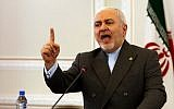 Iran's Foreign Minister Mohammad Javad Zarif speaks during a press conference in the Iranian capital Tehran on August 5, 2019. (AFP)
