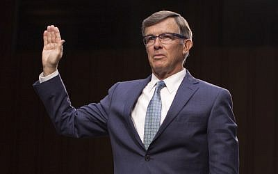 In this file photo taken on July 25, 2018 nominee for director of the National Counterterrorism Center, Joseph Maguire, is sworn in during his confirmation hearing before the Senate Intelligence Committee on Capitol Hill in Washington, DC. (Marcus Tappan / AFP)