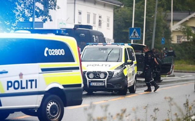 A picture taken on August 10, 2019 shows police vehicles near the al-Noor Islamic center mosque where a gunman, armed with multiple weapons, went on a shooting spree in the town of Baerum, an Oslo suburb. (Photo by Terje Pedersen / NTB Scanpix / AFP)