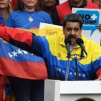 "Venezuela's President Nicolas Maduro delivers a speech during the ""No more Trump"" march to protest US sanctions in Caracas on August 10, 2019. (Federico Parra/AFP)"