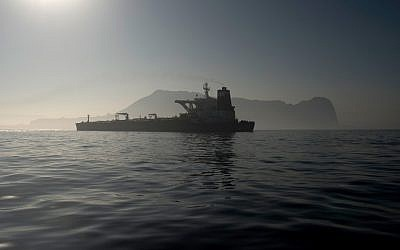 The Iranian supertanker Grace 1 is seen off the coast of Gibraltar on August 15, 2019. (Jorge Guerrero/AFP)