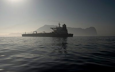 Picture shows Iranian supertanker Grace 1 off the coast of Gibraltar on August 15, 201 (Photo by JORGE GUERRERO / AFP)
