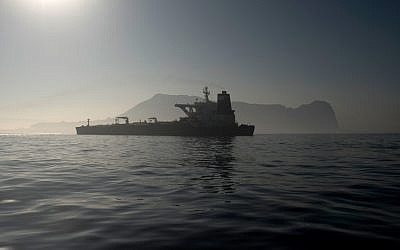 Picture shows Iranian supertanker Grace 1 off the coast of Gibraltar on August 15, 201 (Jorge Guerrero/AFP)