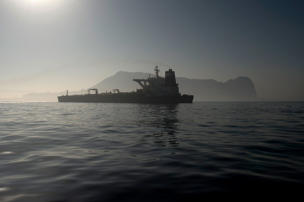 Iranian tanker moving, but still anchored in Gibraltar