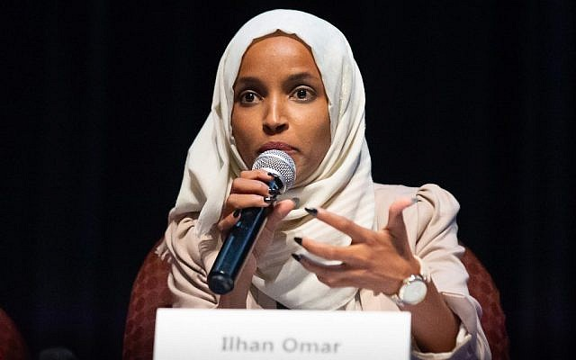 In this photo taken on July 18, 2019, US Representative Ilhan Omar (D-MN) speaks on stage during a town hall meeting at  Sabathani Community in Minneapolis, Minnesota. (Kerem Yucel / AFP)
