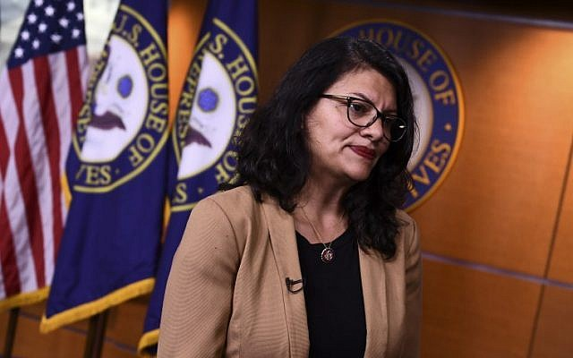 In this file photo taken on July 15, 2019 US Representative Rashida Tlaib (D-MI) looks on during an interview at the US Capitol in Washington, DC (Brendan Smialowski / AFP)