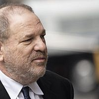In this photo from April 26, 2019, disgraced Hollywood mogul Harvey Weinstein returns to the State Supreme Court in New York, after a break in a pre-trial hearing over sexual assault charges. (Johannes Eisele/AFP)