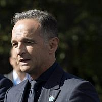 German Foreign Minister Heiko Maas speak to journalists as he arrives for the Informal Meeting of EU Foreign Ministers in Helsinki, Finland on August 29, 2019. (Markku Ulander/Lehtikuva / AFP)