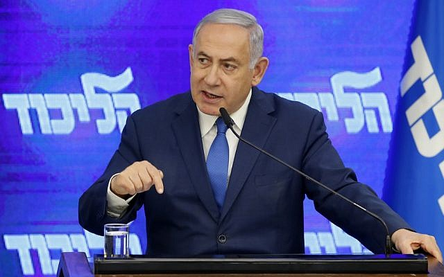 Prime Minister Benjamin Netanyahu at a press conference in Ramat Gan on August 29, 2019. (Jack Guez/AFP)