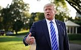 US President Donald Trump speaks to the media before leaving the White House in Washington for for Camp David in Maryland on August 30, 2019. (Mandel Ngan/AFP)