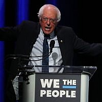 "Sen. Bernie Sanders speaks at the ""We the People"" summit featuring 2020 presidential candidates in Washington, D.C., April 1, 2019. (Mark Wilson/Getty Images via JTA)"