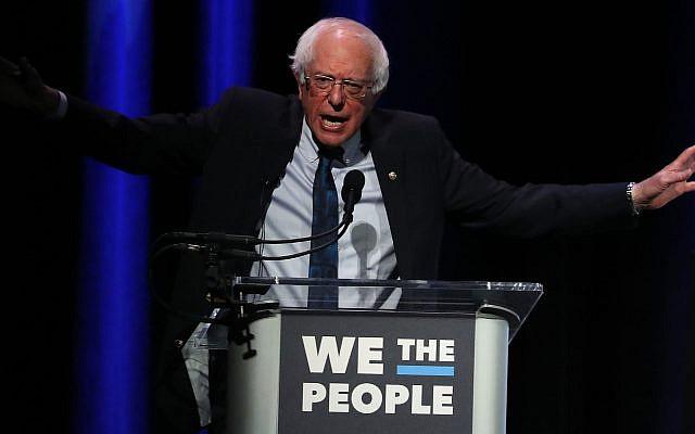 "Sen. Bernie Sanders speaks at the ""We the People"" summit featuring 2020 presidential candidates in Washington, D.C., April 1, 2019. (Mark Wilson/Getty Images via JTA)"