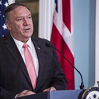 US Secretary of State Mike Pompeo speaks during a joint press event at the State Department on August 7, 2019 in Washington, DC. (Zach Gibson/Getty Images/AFP)