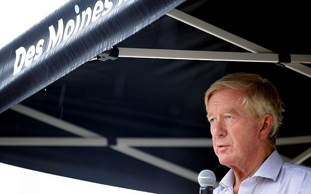 Republican US presidential candidate and former Massachusetts Governor Bill Weld delivers a 20-minute campaign speech at the Des Moines Register Political Soapbox at the Iowa State Fair, August 11, 2019 in Des Moines, Iowa. (Chip Somodevilla/Getty Images/AFP)