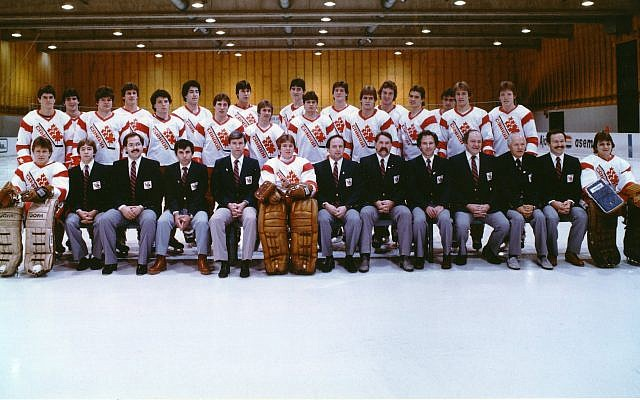 The 1983 Canadian national junior hockey team that competed in the world championship in then-Leningrad. Sherwood Bassin is seated front row center, to the right of the goalie. (Courtesy/Hockey Canada)