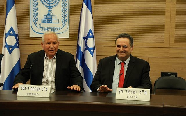FM Katz, right, speaks at the Knesset Foreign Affairs and Defense Committee, August 6, 2019 (Yitzhak Harari/Knesset)