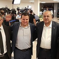 (L-R) Mtanes Shihadeh, Ayman Odeh, Ahmad Tibi and Mansour Abbas, heads of the four Arab-majority parties that form the Joint List, registering their alliance at the Central Elections Committee at the Knesset on August 1, 2019. (Raoul Wootliff/Times of Israel)