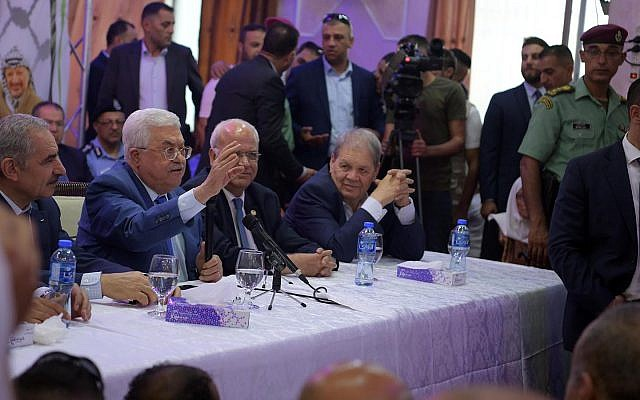 Palestinian Authority President Mahmoud Abbas speaking at an event hall in the Jalazone refugee camp on August 10, 2019. (Wafa)