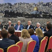 Palestinian Authority President Mahmoud Abbas speaking to Democratic members of Congress on August 7, 2019. (Credit: Wafa)