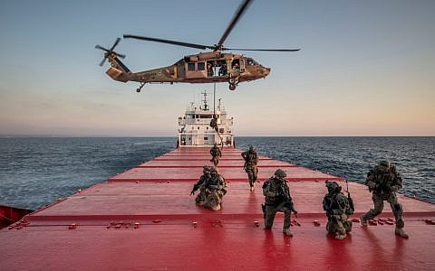 Israeli and American special forces simulate taking over a merchant ship carrying contraband the Mediterranean Sea as part of a large naval exercise Nobel Rose in August 2019. (Israel Defense Forces)