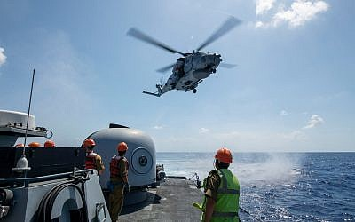The Israeli Navy trains with foreign navies in response to a simulated massive earthquake striking northern Israel in the 'Mighty Waves 2019' naval exercise in August 2019. (Israel Defense Forces)