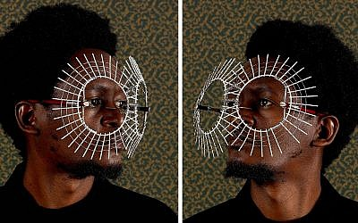 Exhibit photo of Kenyan artist Cyrus Kabiru wearing the 'Jaffa Sun' glasses he created as part of his ongoing C-Stunners series. (Courtesy of Serge Tiroche and the Africa First Collection)