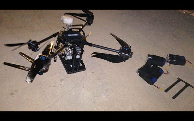 A drone that crashed in the Lebanese capital of Beirut on August 25, 2019. (Lebanese state media)