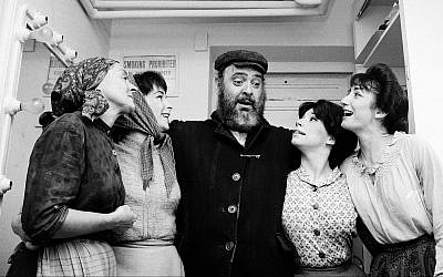 From left: Maria-Karnilova, Tanya Everett, Zero Mostel, Julia-Migenes and Joanna Merlin backstage at opening night of 'Fiddler on the Roof' at the Imperial Theater in New York City, September 22, 1964. (AP/Courtesy of Roadside Attractions and Samuel Goldwyn Films/via JTA)