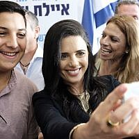 Ayelet Shaked, former Minister of Justice and head of the New Right party poses for a selfie during a press conference in Ramat Gan, July 21, 2019. ( Tomer Neuberg/Flash90)