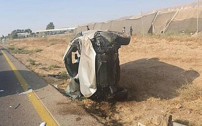 A damaged car after a deadly accident on Route 90, August 2, 2019. (Israel Police)