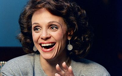 In this Jan. 1987 file photo, Actress Valerie Harper laughs during an interview in New York. Valerie Harper, who scored guffaws and stole hearts as Rhoda Morgenstern on back-to-back hit sitcoms in the 1970s, has died, Friday, Aug. 30, 2019. She was 80. (AP Photo/Ron Frehm)