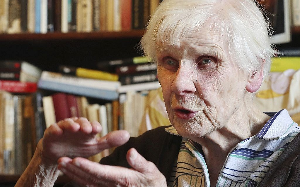 Maria Mostowska, 96, shares her memories with The Associated Press Thursday, July 11, 2019, in Warsaw, Poland, of having faced death during the 1944 Warsaw Rising struggle against the occupying Nazi Germans ahead of state ceremonies marking the 75th anniversary of the failed revolt. (AP Photo/Czarek Sokolowski)