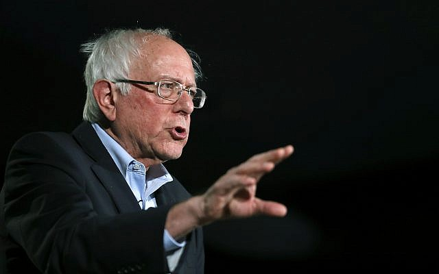 Democratic presidential candidate Sen. Bernie Sanders, I-Vt., speaks during an American Federation of State, County and Municipal Employees Public Service Forum in Las Vegas, August 3, 2019. (Steve Marcus/Las Vegas Sun via AP)