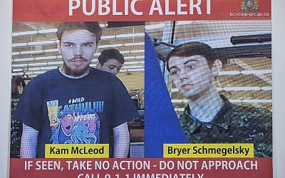 In this July 23, 2019 file photo, security camera images of fugitives Kam McLeod, 19, and Bryer Schmegelsky, 18, are displayed during a news conference in Surrey, British Columbia. Police said Wednesday, Aug. 7, 2019, they believe the two fugitives suspected of killing a North Carolina woman and her Australian boyfriend as well as another man have been found dead in Manitoba. (Darryl Dyck/The Canadian Press via AP File)