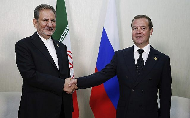 Russian Prime Minister Dmitry Medvedev, right, and Iranian Vice President Eshaq Jahangiri at the First Caspian Economic Forum in Turkmenbashi, Turkmenistan, August 12, 2019. (Dmitry Astakhov, Sputnik, Government Pool Photo via AP)