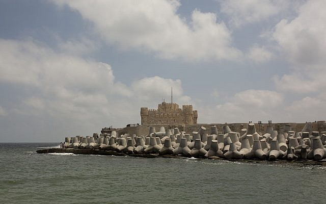 Cement barriers reinforce the sea wall near the citadel in Alexandria, Egypt, August 8, 2019. (Maya Alleruzzo/AP)