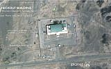 A satellite image from Planet Labs Inc., that has been annotated by experts at the James Martin Center for Nonproliferation Studies at the Middlebury Institute of International Studies in California, shows activity at the Imam Khomeini Space Center in Iran's Semnan province. Iran appears to be preparing to attempt another satellite launch after twice failing this year to put one in orbit, August 9, 2019. (Planet Labs Inc, Middlebury Institute of International Studies via AP)