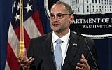 Then-acting director of the US Bureau of Prisons Hugh Hurwitz speaks during a news conference at the Justice Department in Washington, July 19, 2019. (AP Photo/Susan Walsh, File)